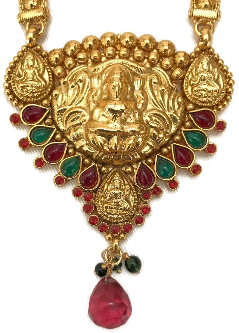 Indian Jewelry Polki Lakshmi Ji Necklace Pendant Set Indian Temple Bollywood Party wear Jewelry Na n180