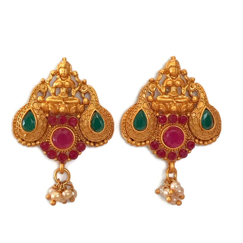 Indian Bollywood Designer Party wear Jewelry.Ea e960 Maroon /& Green Color Glass stone Matte Finish Temple Golden Earring Set