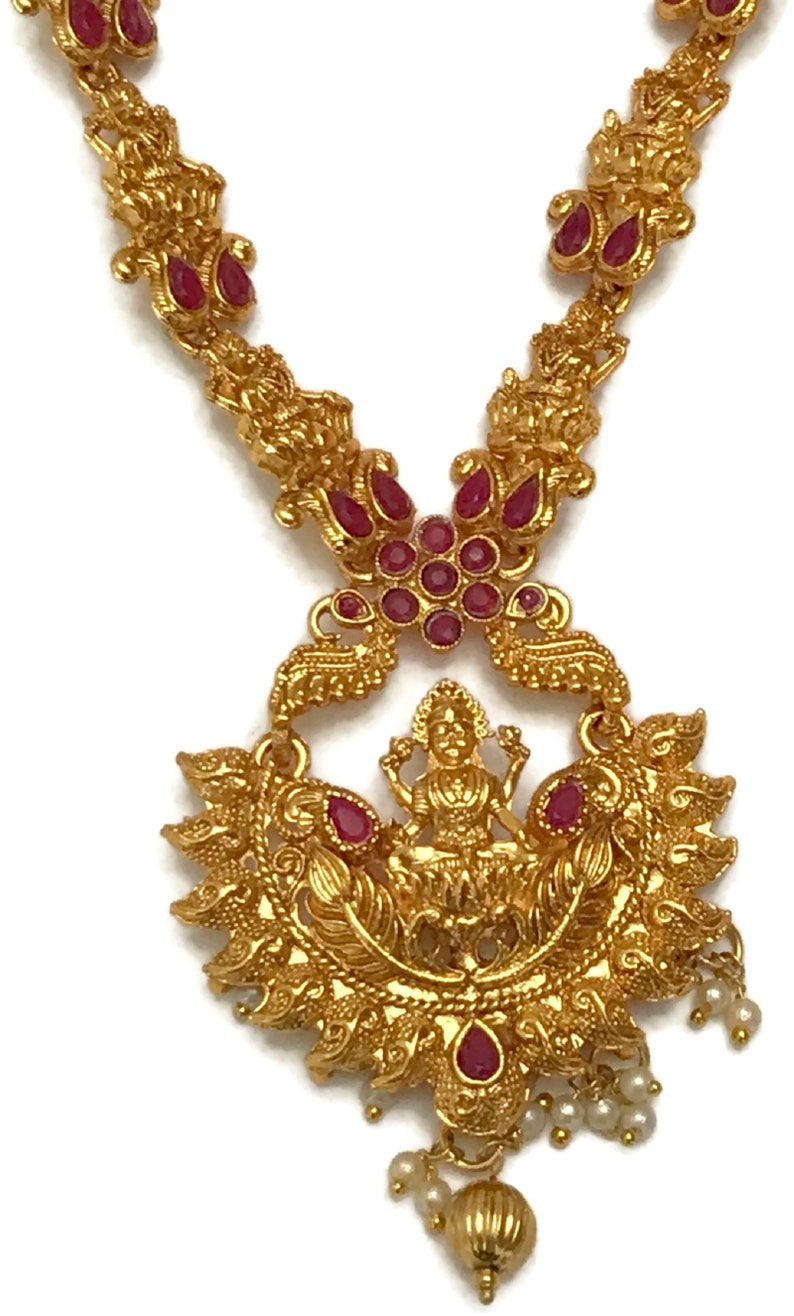 Indian Party wear Jewelry.Surbhi Na n160  Bollywood Fashion Pearls /& Red Polki  Golden Necklace with Lakshmi Ji Pendant
