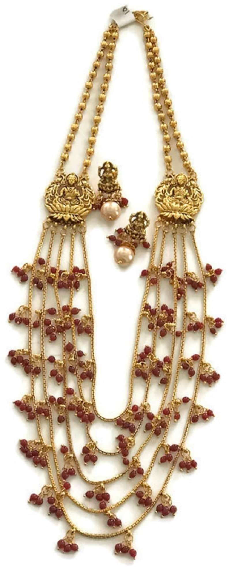 Na n016  New Bollywood Designer 24 Inches Golden Balls Lakshmi Ji Pendants /& Multicolor Beads Necklace Pendant Earring Set Indian Jewelry.