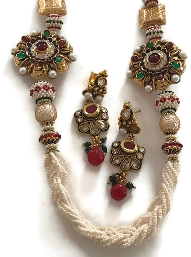 Na n013  New Bollywood Designer 24 Inches Multilines Pearls,Golden Balls /& Polki Necklace Pendant Earring Set Indian Party wear Jewelry.
