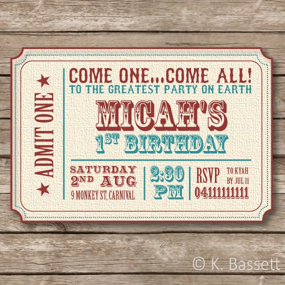 Vintage Circus Theme Birthday Party Invitation Printable File