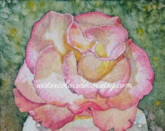 Pink Rose Watercolor Print. Rose painting. Watercolor floral. Rose wall art. Rose picture. Watercolor art. Rose artwork. Romantic decor.