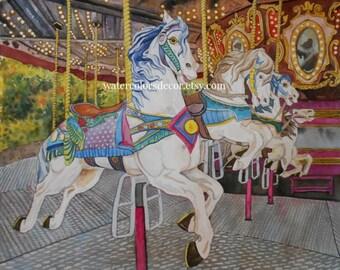 Water Color : Carousel Watercolor Print. White Horses. Carousel artwork. Kids Room Wall Art. Carnival picture. Carousel art. Watercolor art.