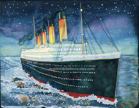 titanic watercolor print ship painting victorian decor etsy