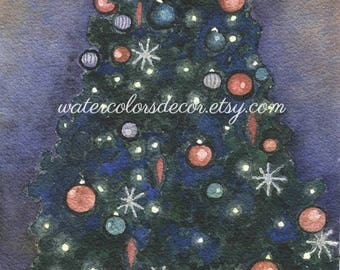 Black Christmas tree watercolor print. Christmas painting. Christmas decor. Christmas wall art. Christmas picture. Christmas artwork.