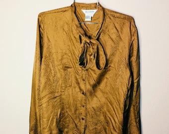 Vtg 80s Allison Taylor Gold Silk Buttondown Size XL