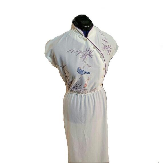 Vtg 90s Qipao Look White Dress S - image 1