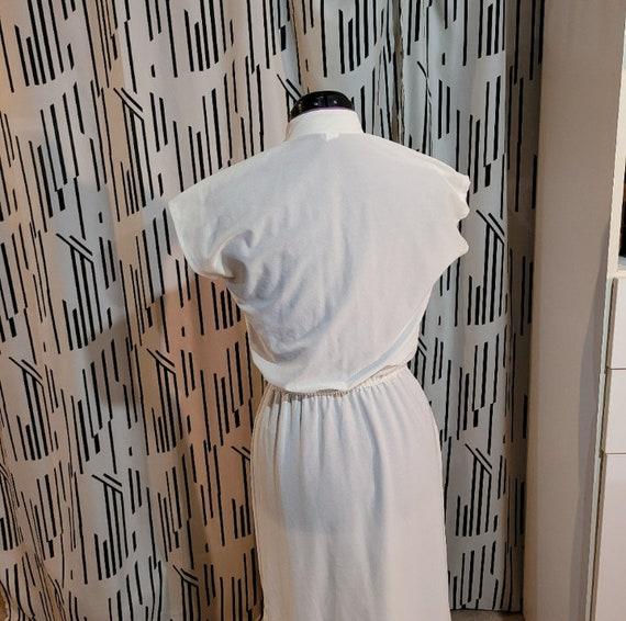Vtg 90s Qipao Look White Dress S - image 4