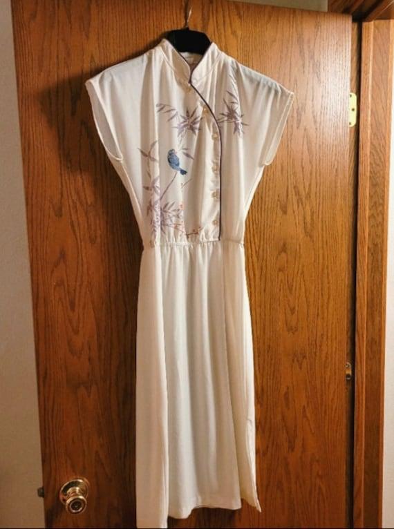 Vtg 90s Qipao Look White Dress S - image 7