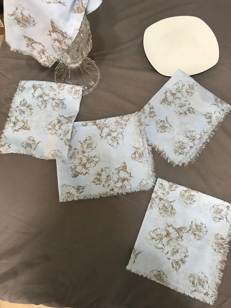 Soft cotton blue wedding napkins