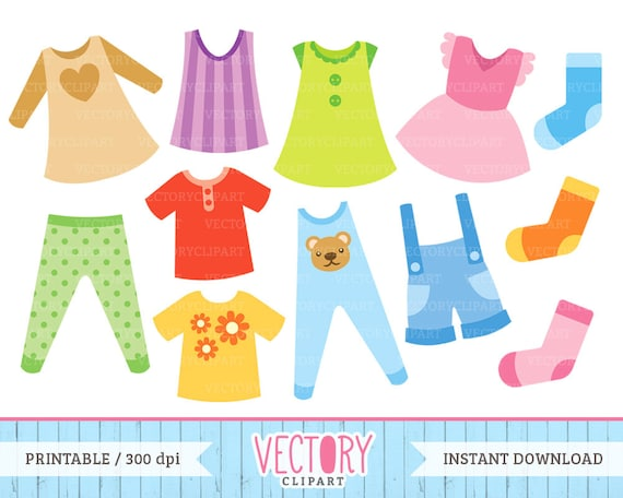 items similar to 12 clothes clip art kids clothes clipart rh etsy com clothing clip art free clothes clip art free