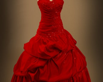 Red Gothic Wedding Dress Ball Gown