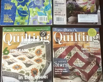 4 Quilting Quilt Magazines 2 Fons & Porter's 2006 2007  1 McCall's 2006 1 Quilter Magazine 2008