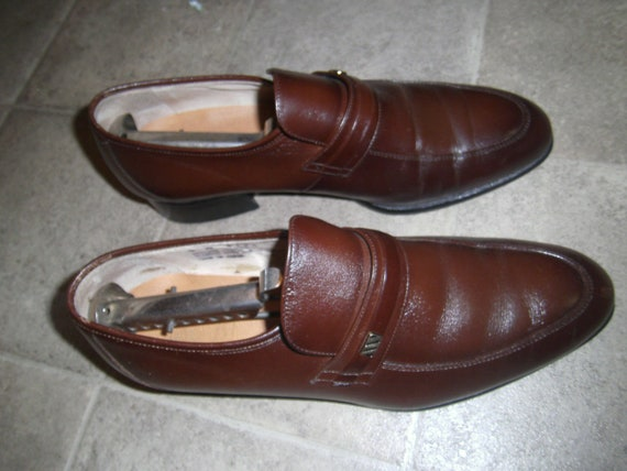 Montgomery Ward Leather & Pig Skin Mens Shoes Size 9 – D #6126 Inserts Vintage