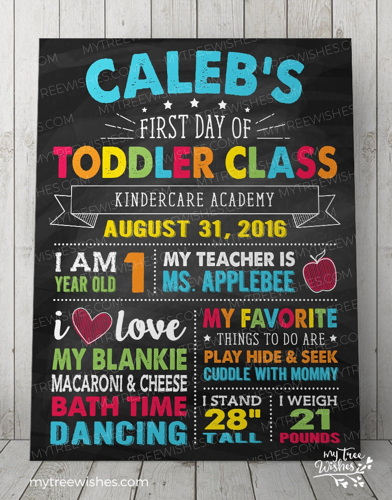 First Day of Toddler Class School Sign - First Day of School Chalkboard  Sign - 1st Day of School Sign - First Day of Daycare Sign
