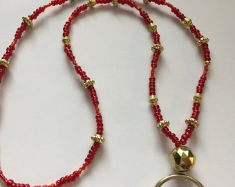 Red and gold Beaded Lanyard