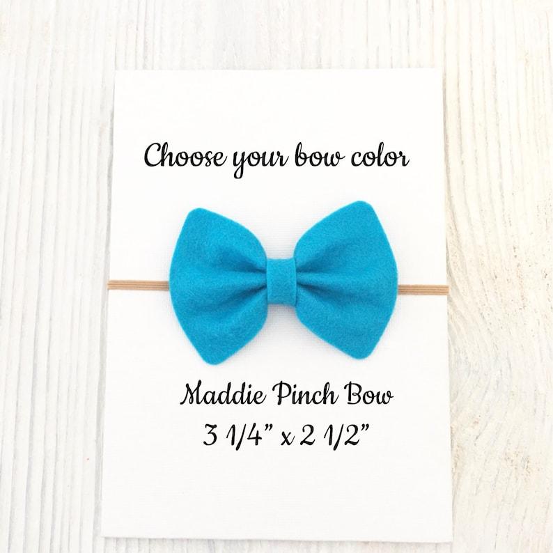 Felt bow headbands Big hair bows You choose color Newborn headband Pinch hair bows Maddie pinch bow Baby accessories Baby bows