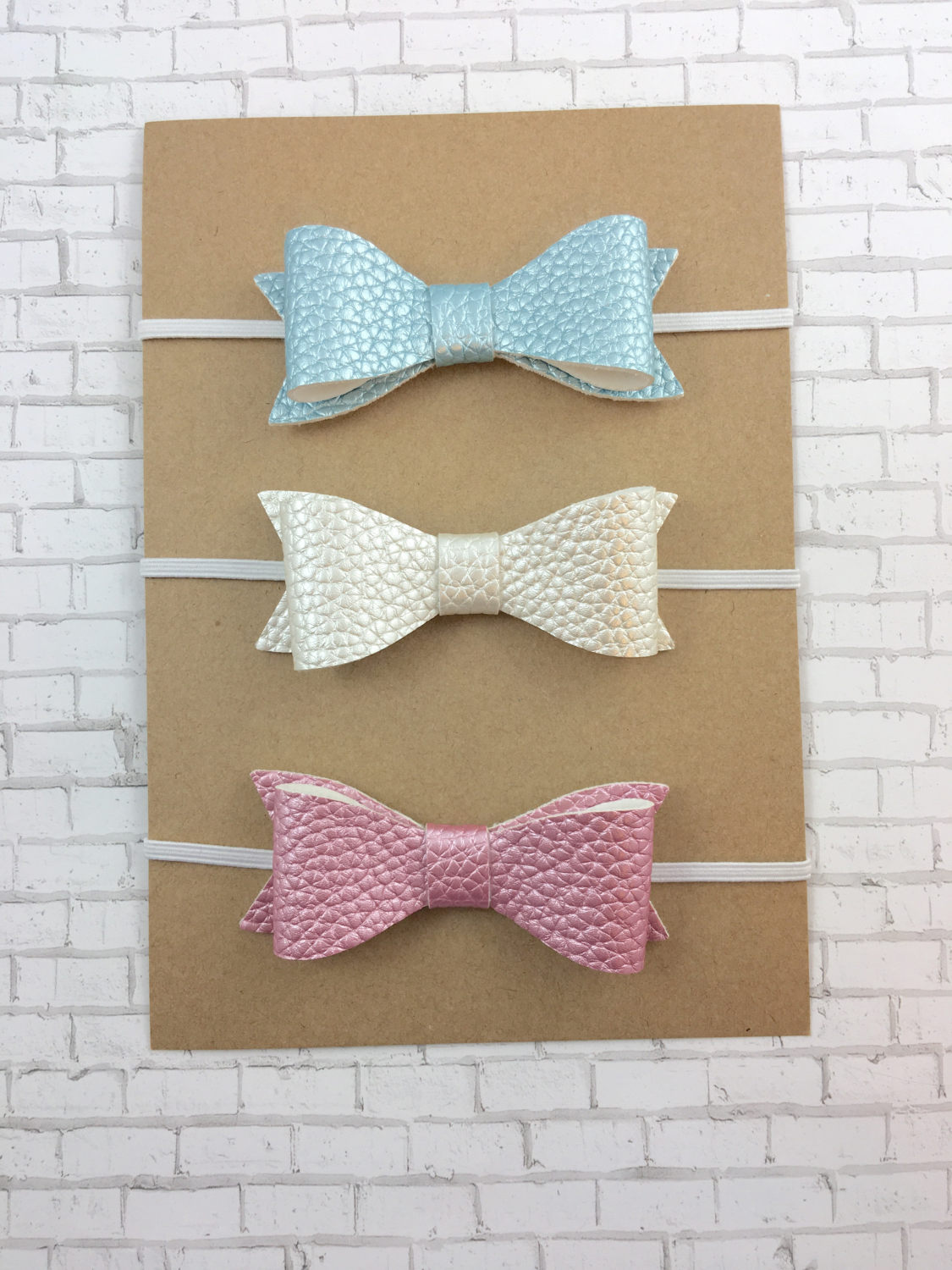 Faux Leather Bow Baby Headband Stretchy Bow Nylon Headband Blue Headband Headband Baby Bow Blue Bow Glitter Bow