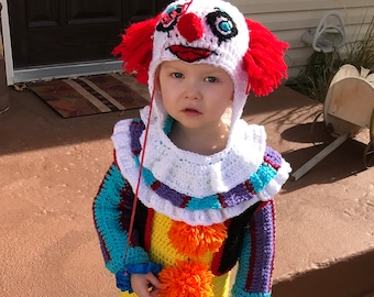 Crochet Scary Clown Baby Costume, Scary Halloween Clown Costume, Clown  Costume, Baby Clown Costume
