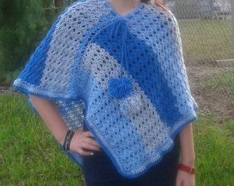 Crochet poncho. asymmetrical poncho. womens poncho. teen poncho. womens sweater. baby blue poncho