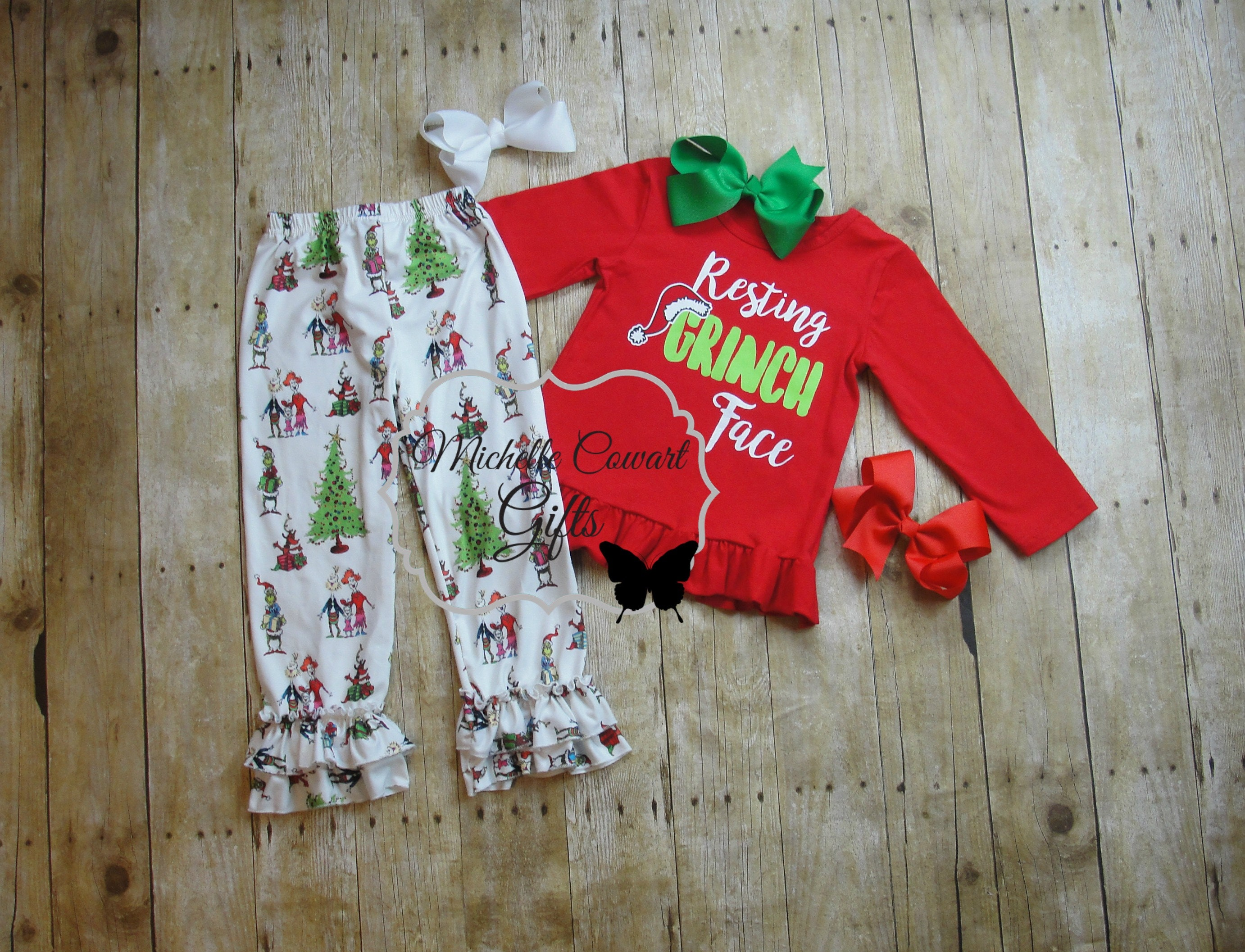 ae1924741f8c Grinch Outfit Christmas Outfit XMas Ruffle Pants Set