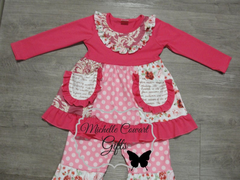 Toddler Outfit Birthday Outfit Valentine Outfit Ruffle Pant Outfit Pink Outfit Girls Ruffle Pant RTS Matilda Jane 12M 18M 2T 3T 4T