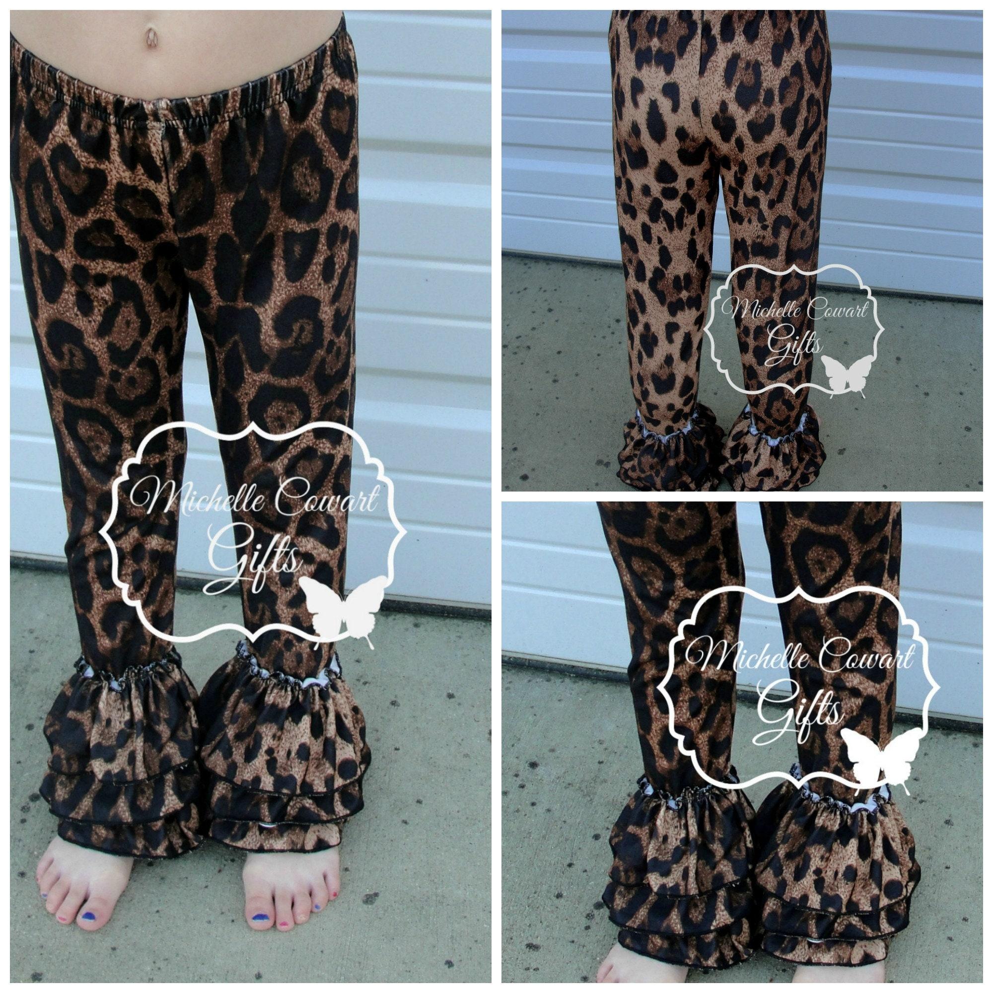 da03f6a299bfd2 Leopard Triple Ruffle Pants Bells Belles Leggings 9M 12M 18M | Etsy