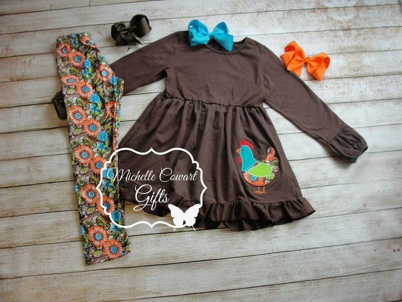 Monogrammed Toddler Girls 18M 24M 2T 3T 4T 5 6 7 8 FFA 4-H Farm Girl Outfit Chicken Outfit Leggings Chicken Set Personalized Embroidery