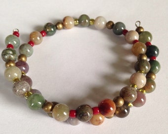 Fancy Jasper Gemstone Memory Wire Bracelet