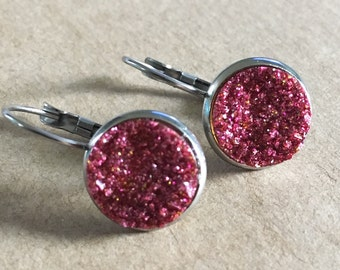 Pink Druzy Leverback Earrings, Faux Pink Druzy Earrings, Druzy Earrings