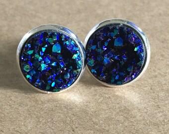 Dark Blue Druzy Stud Earrings/Faux Blue Druzy Earrings