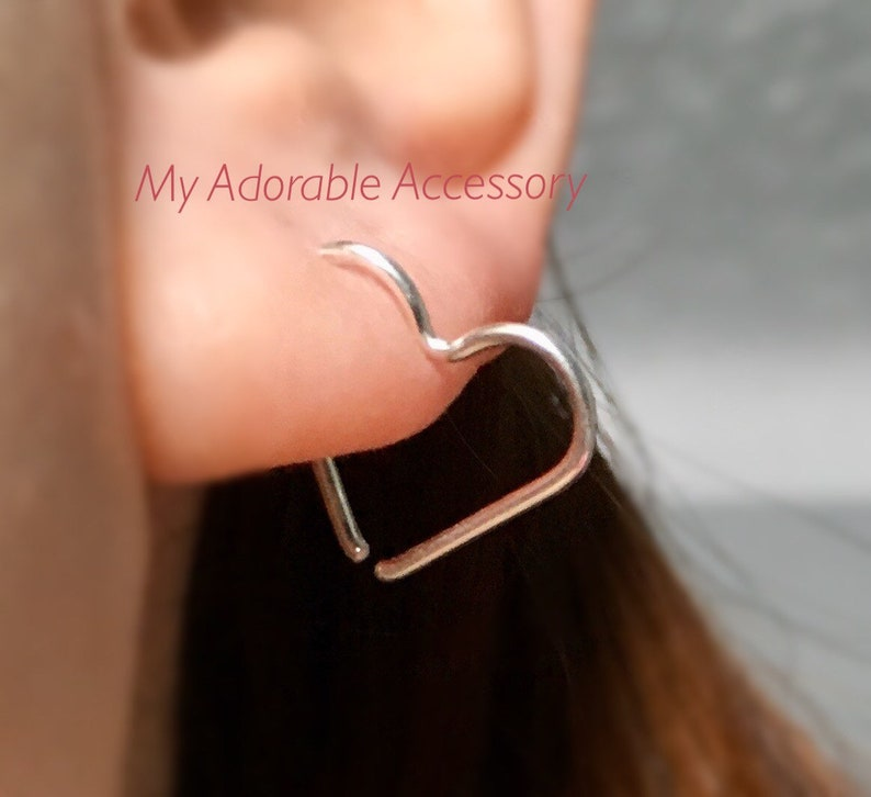 Pair of Heart Sleeper Earrings/ Endless Earrings Heart Shape image 0