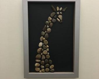 Framed Mosaic Giraffe Pebble Artwork, stone, rocks
