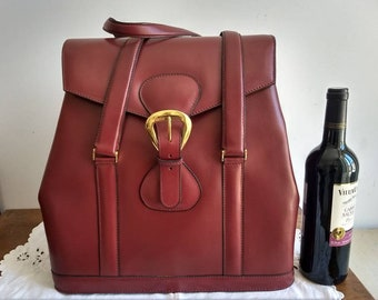 Franzi, Italian made, large vintage leather, wine coloured large overnight bag / tote / weekend bag, two handles and gold trim.