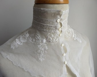 1d445fae1d4b Antique French ladies, hidden collar, dress insert, plastron, lace bib,  collar insert, hand made circa 1900.