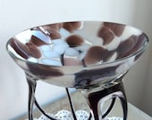 Rare and striking Italian vintage, Murano footed bowl, mouth blown glass in brown and white.