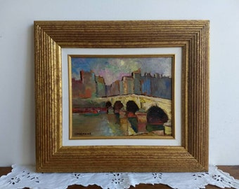 Vintage French original impressionist style oil painting on board of le Pont, signed and framed Irene Fanshawe, circa 1950s.