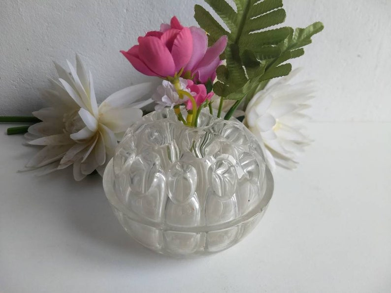 Etsy & French vintage glass pique fleur / flower frog / vase made in France circa mid century.