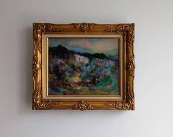 Wonderful French vintage painting of Southern France, impressionist landscape by Robert Nyel.