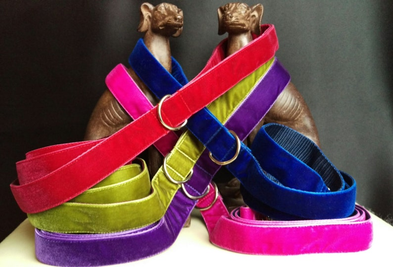 Velvet dog leashes
