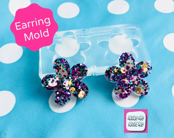25mm Silicone Stud Flower Earring Mold  EM338