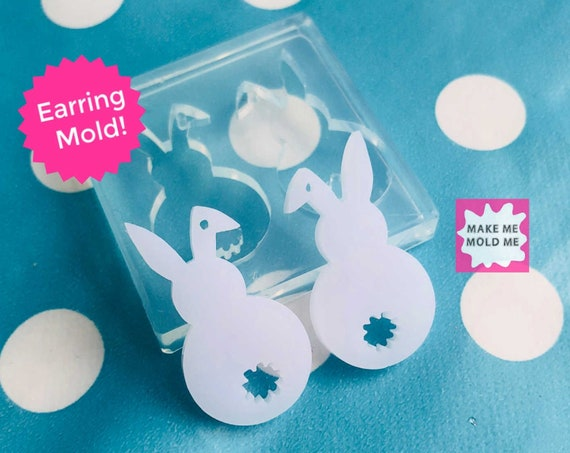35mm Rabbit Earring Silicone Mold EM276