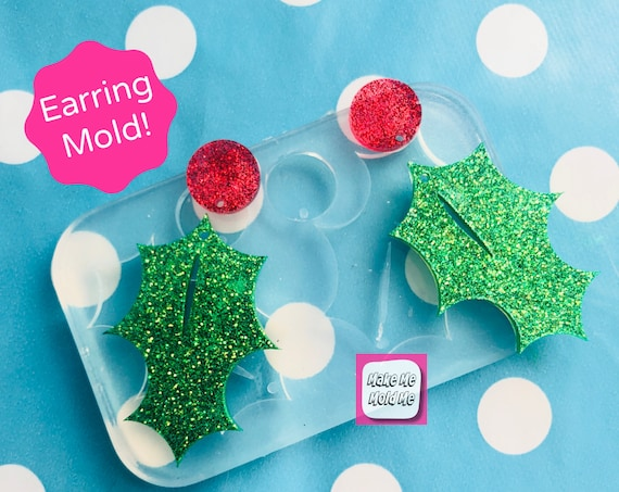 50mm Christmas Holly Earring Mold EM360