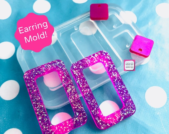50mm Cut out Rectangle Earring Mold - Silicone Mold Craft Resin Earrings EM358