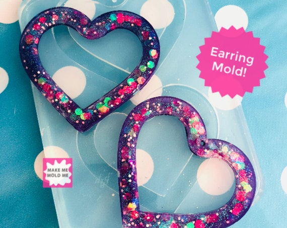 XL 50mm Silicone Heart Dangle Mold  EM292