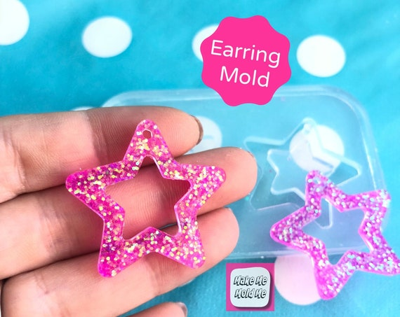 30mm Silicone Flat Cut Out Star Earring Mold EM332
