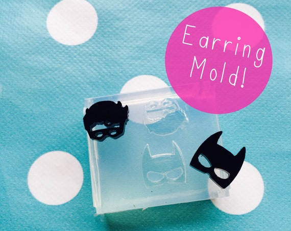 Silicone Earring Batman Robin Comic Hero Stud Mold  - Earrings Resin Crafter Mould Geometric EM121