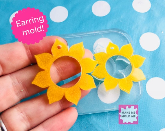 40mm Silicone Sunflower Earring Mold EM314