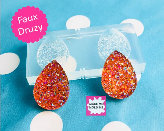 12mm Silicone Faux Druzy Earring Mold EM312